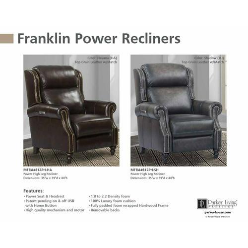 FRANKLIN - SHADOW Power High Leg Recliner