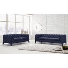 Product Image - Divani Casa Soma Modern Blue Tufted Leather Sofa Set