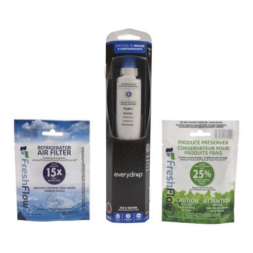 Whirlpool - Everydrop® Refrigerator Water Filter 6 - EDR6D1 (Pack Of 1) + Refrigerator FreshFlow™ Air Filter + FreshFlow Produce Preserver Refill