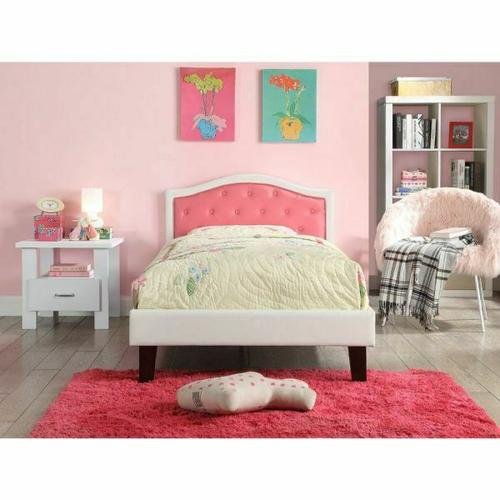 ACME Rheanna Twin Bed - 30790T - Pink & White PU