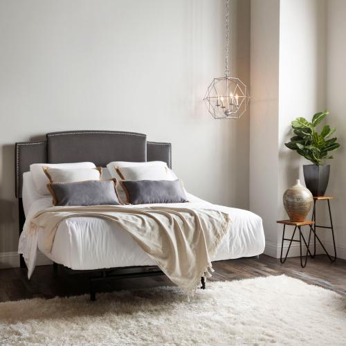 Navarree Universal Sized Nailhead Trimmed Upholstered Headboard with Expandable Width and Adjustable Height, Velvet Gray Finish