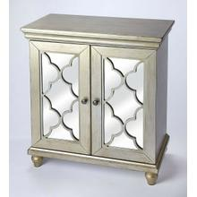 See Details - Equal parts style and function, this versatile mirrored accent cabinet is a welcome addition to your entryway, living room or dining room. The piece features two doors with a lattice overlay and mirrored glass panels that open to reveal ample interior space with one adjustable shelf. Crafted from rubberwood solids and wood products, this unique design has a glamorous silver finish for a decidedly vintage appearance.