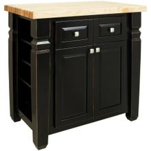"34"" x 22"" x 34-1/4"" Furniture style kitchen island with Aged Black finish."