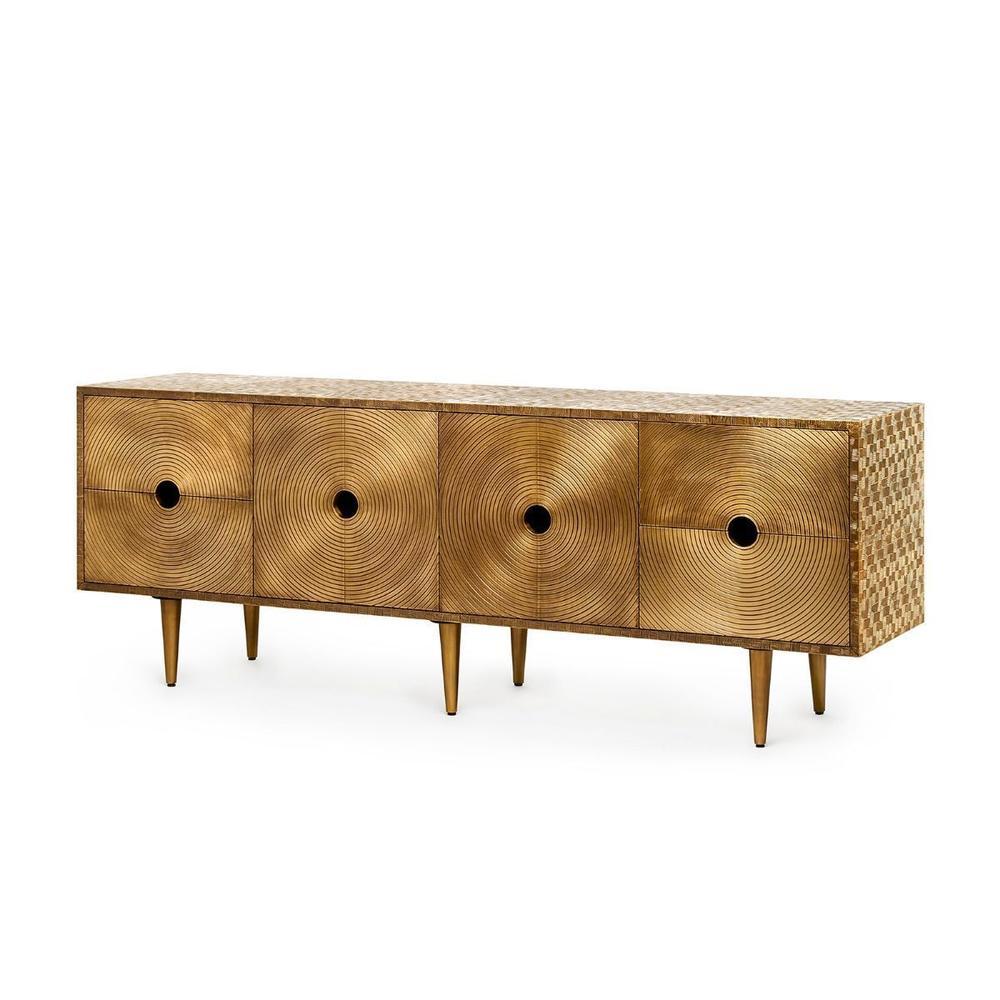 Randers 4-Drawer & 2-Door Cabinet, Antique Brass
