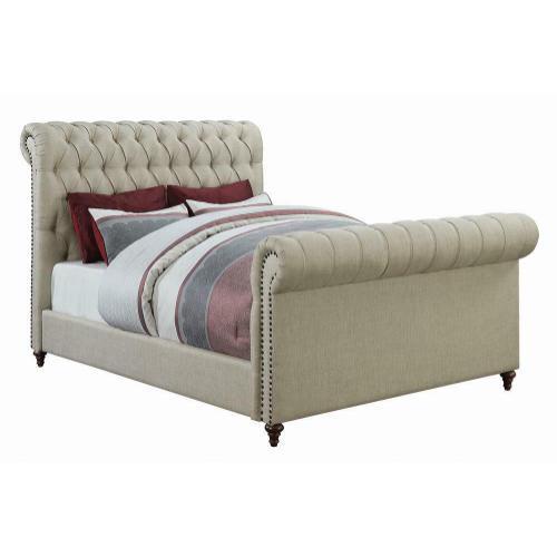 Gresham Beige Upholstered Queen Bed