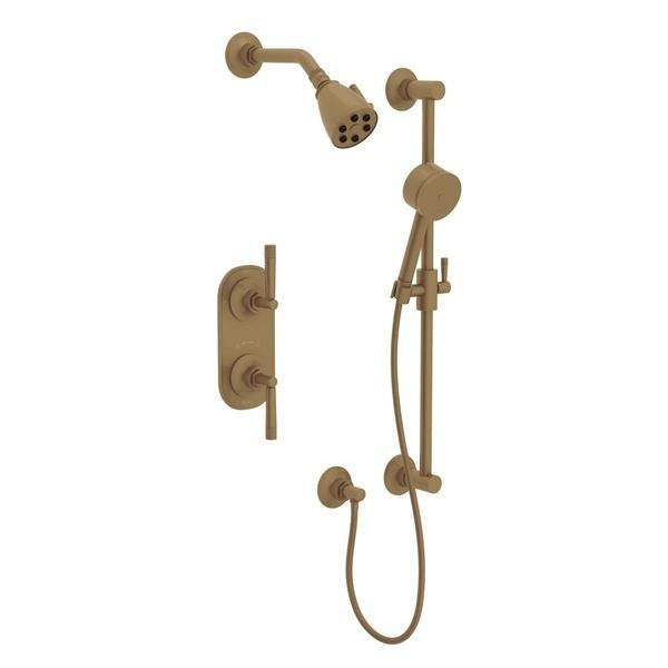 French Brass GRACELINE THERMOSTATIC SHOWER PACKAGE with Metal Lever Graceline Series Only