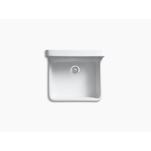 """White 24"""" X 22"""" X 17-1/2"""" Wall-mount/top-mount Single-bowl Kitchen Sink"""
