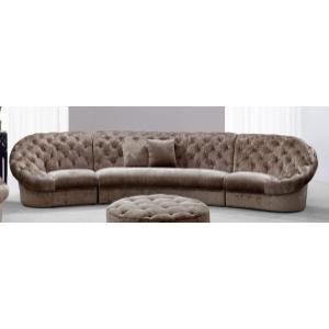 VIG Furniture - Divani Casa Cosmopolitan Mini - Transitional Beige Tufted Fabric Curved Sectional Sofa