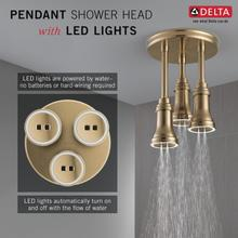Champagne Bronze H 2 Okinetic ® Pendant Raincan Shower Head with LED Light