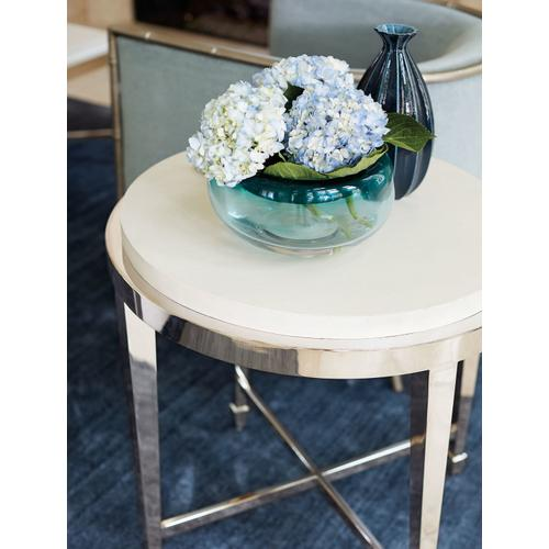 Criteria Round End Table in Pale Ivory Leather (363)