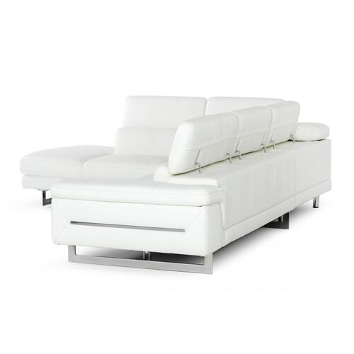 VIG Furniture - Accenti Italia Lazio - Italian White Leather Left Facing Sectional Sofa