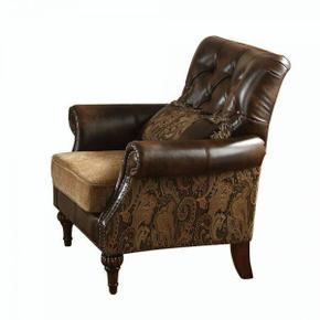 ACME Dreena Chair w/1 Pillow - 05497 - PU & Chenille