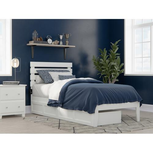 Oxford Twin Extra Long Bed with USB Turbo Charger and 2 Extra Long Drawers in White