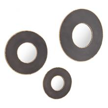 Set Of 3 Alcala Round Mirrors Black