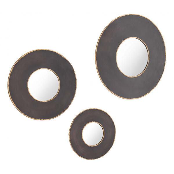 Set Of 3 Alcala Round Mirrors Black