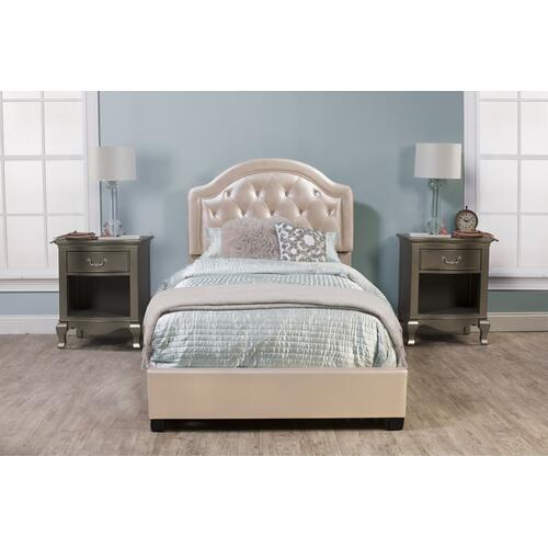 Karley Complete Twin-size Bed, Champagne Faux Leather