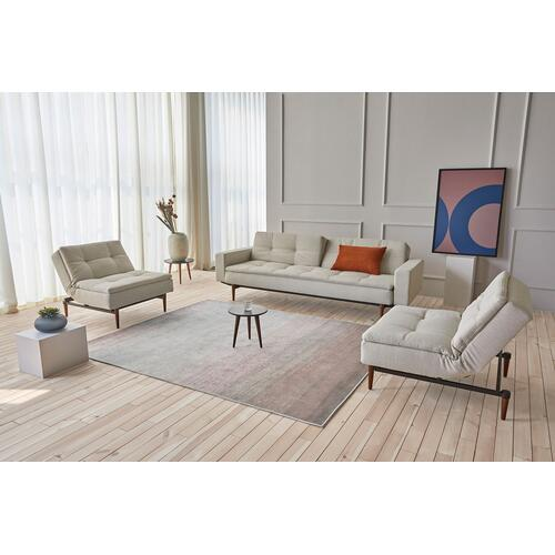 "DUBLEXO SOFA, 45""X83""/SP ROUND SOFA ARMS, 1 SET/SP STYLETTO HL ARMS & LEGS, METAL BARS/SP STYLETTO HL WALNUT"