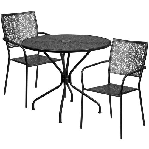 35.25'' Round Black Indoor-Outdoor Steel Patio Table Set with 2 Square Back Chairs