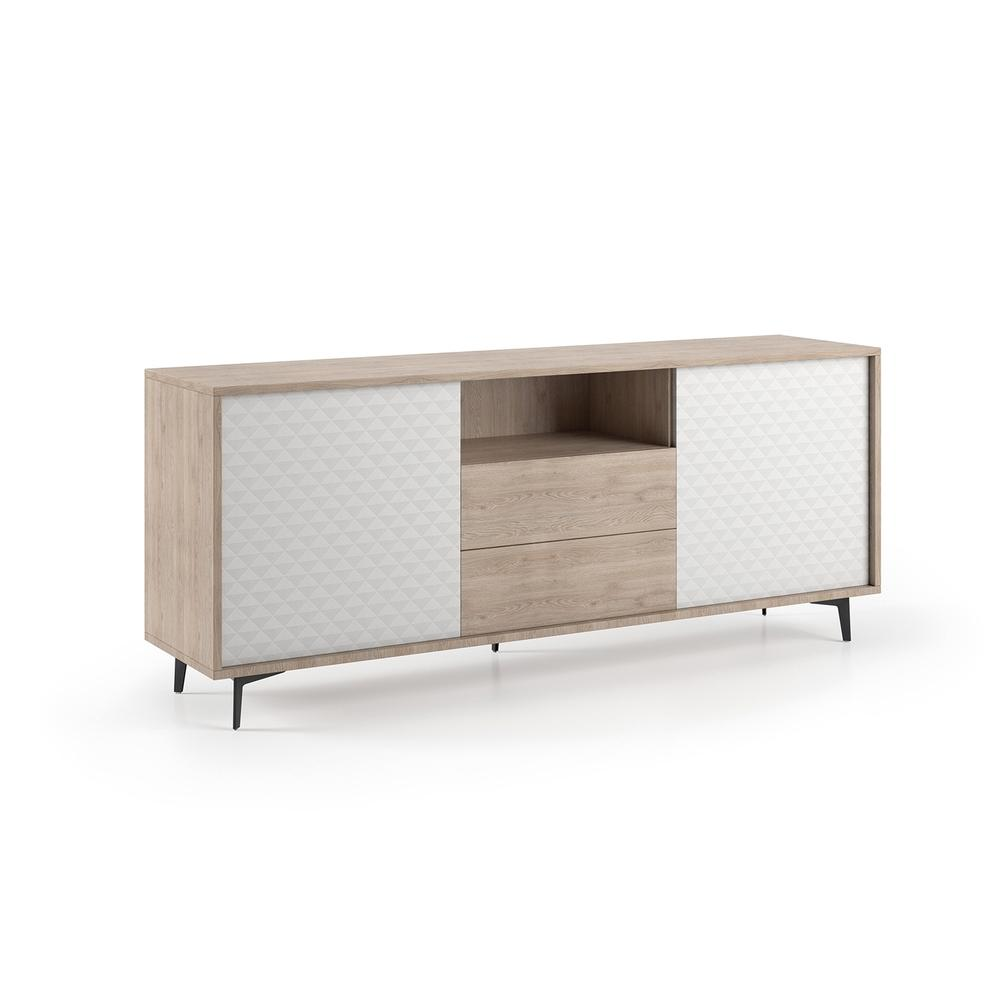 The Cameron Buffet-server Part Of Our Kd Collection In Light Oak Melamine Frame With White Pattern Melamine Doors