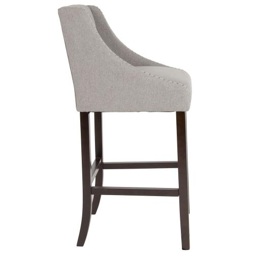 """30"""" High Transitional Walnut Barstool with Accent Nail Trim in Light Gray Fabric"""