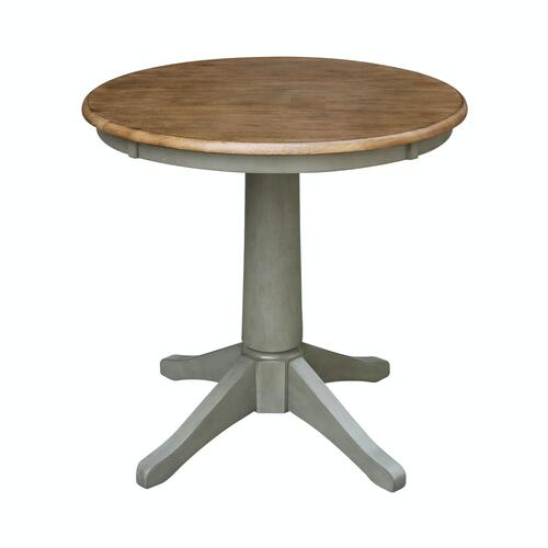 """30"""" Pedestal Table in Hickory/Stone"""