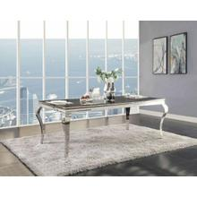 ACME Fabiola Dining Table - 62070 - Stainless Steel & Black Glass