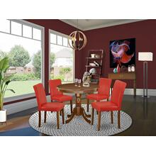 "5Pc Round 36"" Table And 4 Parson Chair With Mahogany Leg And Pu Leather Color Firebrick Red"