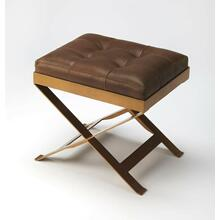 See Details - An updated version of the humble campaign stool, this charming ottoman adds extra seating and extra charm with buttery soft leather, hand-tufted in rich caramel. Brass finished metal frame adds durability, perfect for layering with a cozy throw or add a tray and it doubles as a cocktail ottoman.