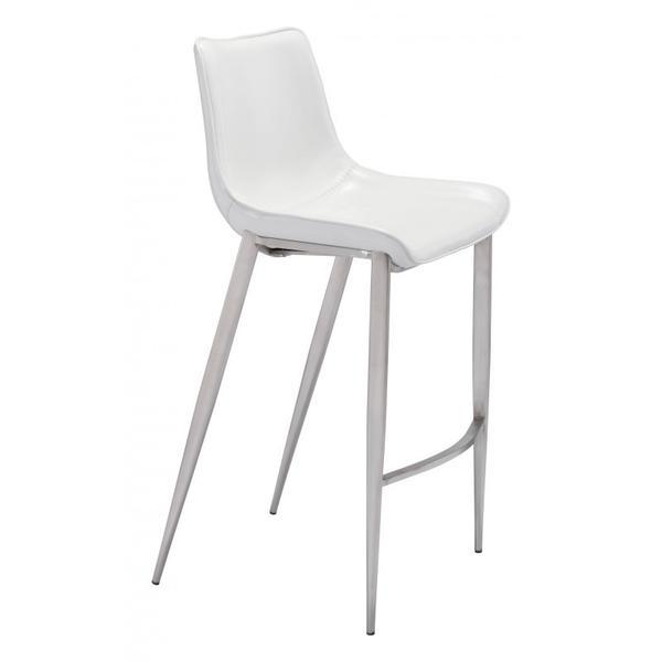 Magnus Bar Chair White & Silver