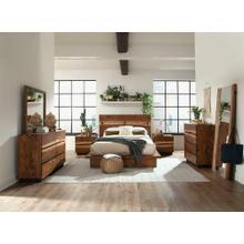 See Details - Rustic Smoky Walnut Eastern King Storage Bed