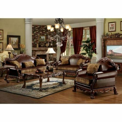 ACME Dresden Sofa w/3 Pillows - 15160 - Brown PU & Chenille - Cherry Oak
