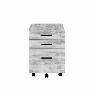 ACME Jurgen File Cabinet - 92918 - Industrial, Contemporary - Veneer (PVC), PB, Casters - Antique White and Black