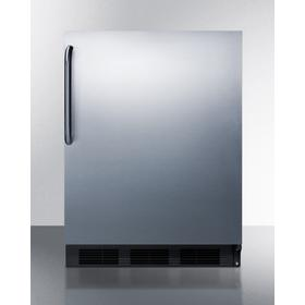 Built-in Undercounter All-refrigerator for Residential Use, Auto Defrost With A Stainless Steel Wrapped Door, Towel Bar Handle, and Black Cabinet