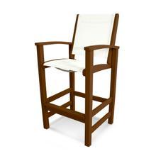 Teak & White Coastal Bar Chair