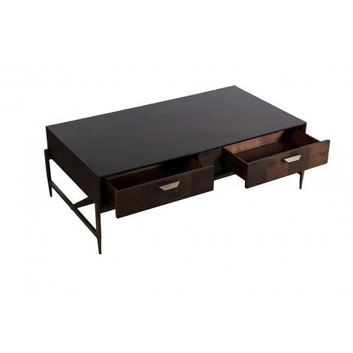 Gallery - Modrest Shane - Modern Acacia & Brass Coffee Table