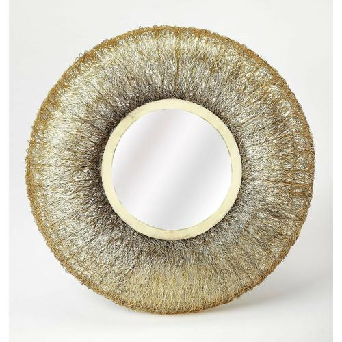 Complement a modern design with this gorgeous, Round Gold Wire Frame Mirror. The trendy round shape and uniquewire wrapped style banding are the perfect addition to any empty wall space. This mirror's durable construction and intricate design are sure t