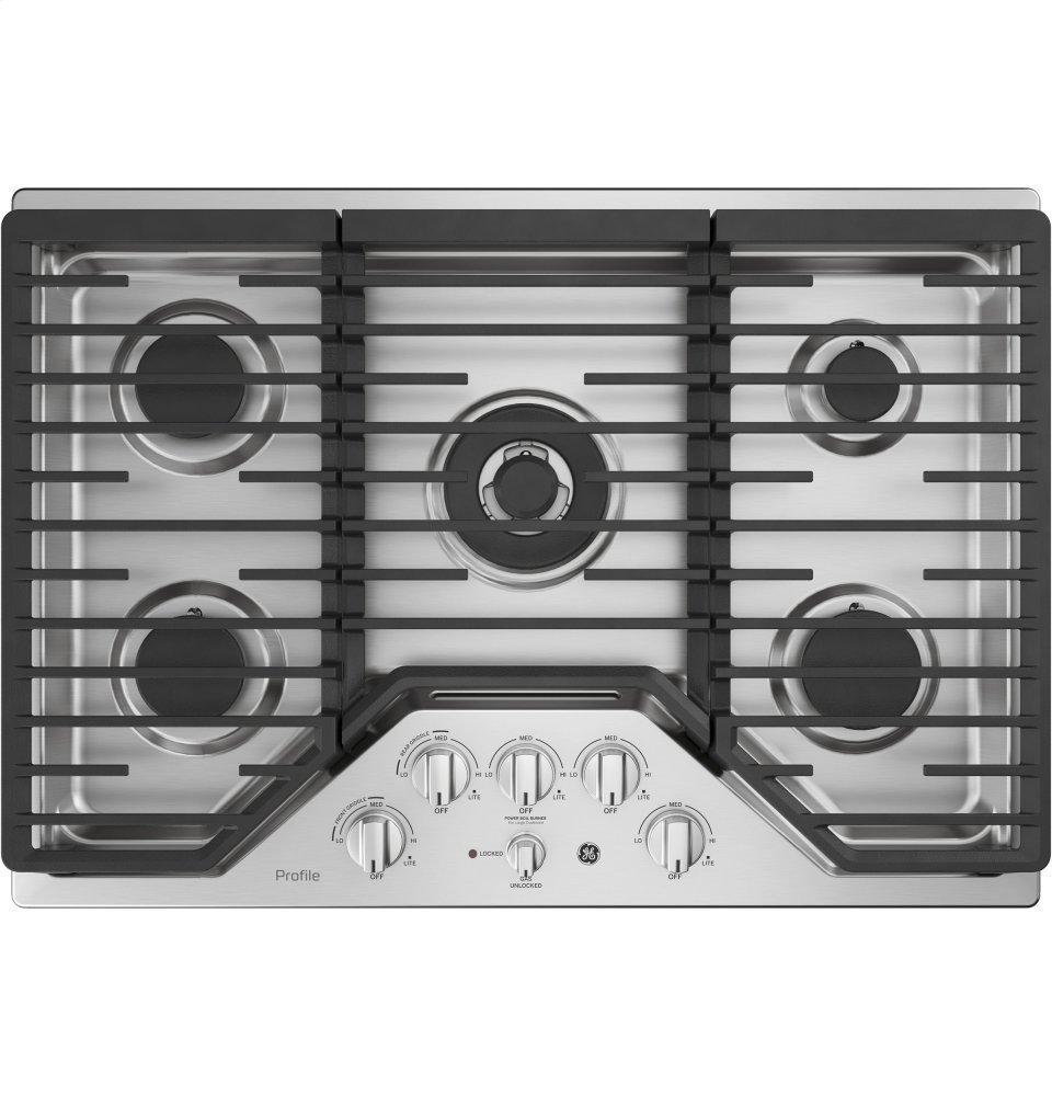 "GE Profile30"" Built-In Tri-Ring Gas Cooktop With 5 Burners And Included Extra-Large Integrated Griddle"