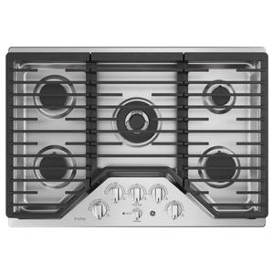 "GE ProfileGE PROFILEGE Profile™ 30"" Built-In Tri-Ring Gas Cooktop with 5 Burners and Included Extra-Large Integrated Griddle"