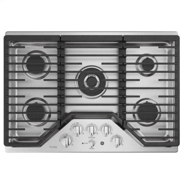 "GE Profile 30"" Built-In Tri-Ring Gas Cooktop with 5 Burners and Included Extra-Large Integrated Griddle"