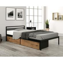 Modern Metal & Wood Twin Mate's Bed