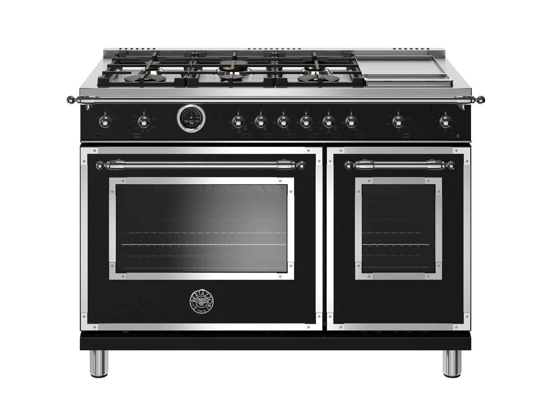 Bertazzoni48 Inch Dual Fuel Range, 6 Brass Burners And Griddle, Electric Self Clean Oven Nero Matt