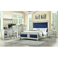 ACME Varian Queen Bed - 26150Q - Blue Velvet & Mirrored