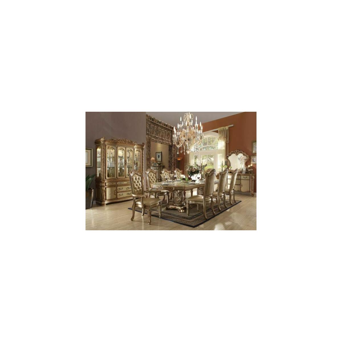 ACME Vendome Dining Table w/Double Pedestal - 63000 - Gold Patina & Bone