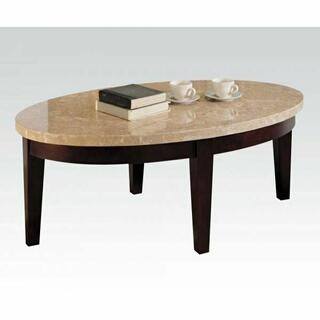 ACME Britney Coffee Table - 17142B - White Marble & Walnut