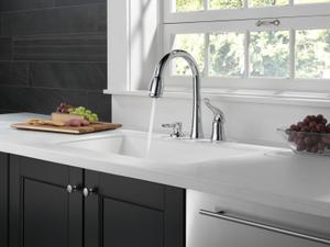 Chrome Single Handle Pull-Down Kitchen Faucet with Soap Dispenser Product Image