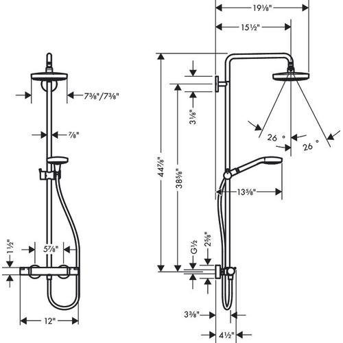 Chrome Showerpipe 180 2-Jet, 2.0 GPM