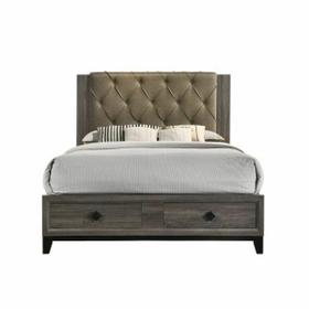ACME Avantika Queen Bed (Storage) - 27670Q - Transitional - Fabric, Veneer (Foil), MDF, PB - Fabric and Rustic Gray Oak
