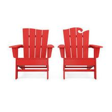 View Product - Wave 2-Piece Adirondack Set with The Wave Chair Left in Vintage Sunset Red