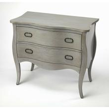 See Details - Bring a contemporary charm to your master suite or entryway with this mango wood, gray finished two drawer chest. Featuring iron hardware and flared legs. It is perfect for virtually any decor.