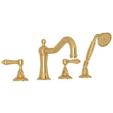 See Details - Acqui 4-Hole Deck Mount Column Spout Tub Filler with Handshower - Italian Brass with Metal Lever Handle